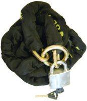 Stöldlås - kätting & hänglås klass 3 längd 2.5 meter kätting med ögla klädd i svart skyddshölje