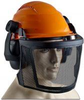Skogshjälm Professional - justerbar för huvudstorlek avtagbara hörselskydd nätvisir av rostfritt stål