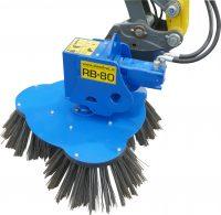 Ogräsborste RB80 för grävmaskin - fäste S60 arbetsbredd 800 mm 3 borsthuvuden